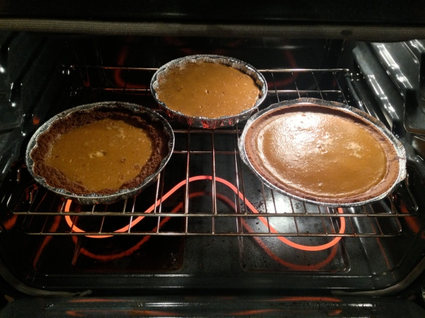 Pumpkin Pies in Oven