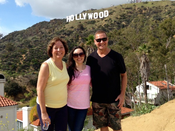 Posing in front of Hollywood Sign