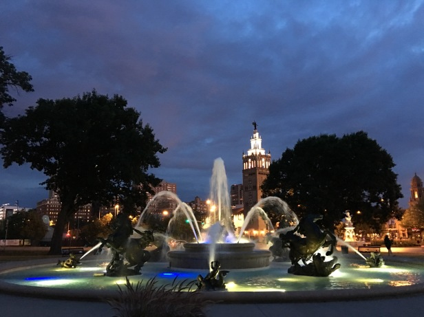 J.C. Nichols Memorial Fountain Night