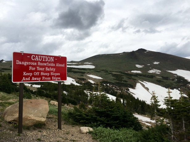 Rocky Mountain National Park Snowfield Sign